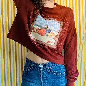 Vintage 80s Cropped Pumpkin Halloween Long T-shirt
